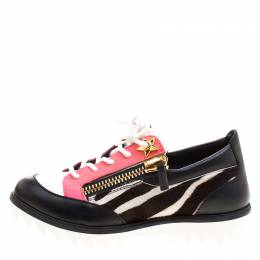 Giuseppe Zanotti Design Multicolor Zebra Print Pony Hair and Leather Lace Up Sneakers Size 37 126035
