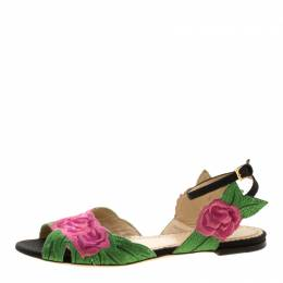 Charlotte Olympia Pink/Green Rose Embroidered Fabric Ankle Strap Flat Sandals Size 36 131941