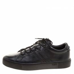 Tod's Black Leather Embroidery Stitch Panel Lace Up Sneakers Size 39.5 126778