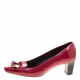 Tod's Cherry Red Patent Leather Kiltie Fringe Pumps Size 37.5 Tod's