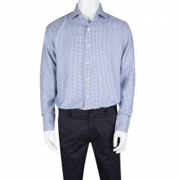 Tom Ford Blue and White Cotton Houndstooth Pattern Long Sleeve Shirt XL