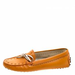 Tod's Orange Perforated Leather Bow Loafers Size 36 118938