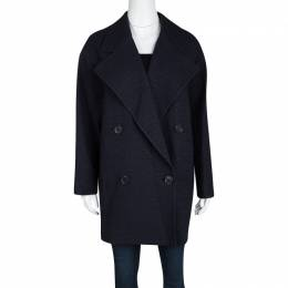 Joseph Navy Blue Summer Tweed Double Breasted Maubert Coat M 114326