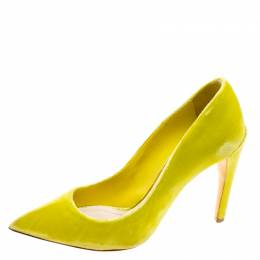Dior Florescent Yellow Velvet Pointed Toe Pumps Size 37.5 119336
