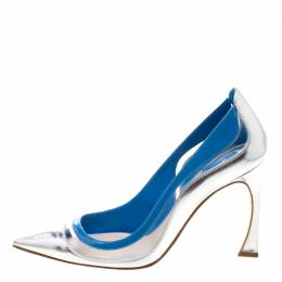 Dior Two Tone Patent Leather and PVC Pointed Toe Pumps Size 37.5 116771