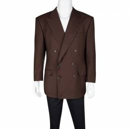 Ermenegildo Zegna By Mientus Brown Wool Cashmere Double Breasted Blazer L 118237