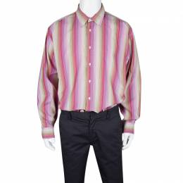 Tommy Hilfiger Multicolor Striped Cotton Long Sleeve Button Front Shirt XL 125587