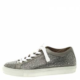 Le Silla Grey Crystal Embellished Leather Lace Up Sneakers Size 36 118520