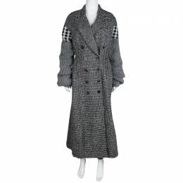 Joseph Grey Check Jersey and Jacquard Wool Al Maxi Overcoat L 114299