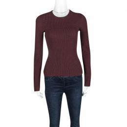 Alexander Wang Burgundy Textured Knit Fitted Sweater S 123349