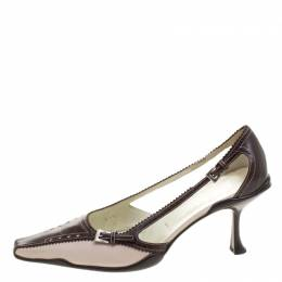 Prada Two Tone Leather Pointed Toe Kitten Heel Pumps Size 37.5