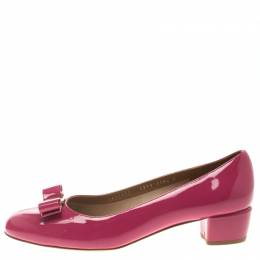Salvatore Ferragamo Pink Patent Leather Vara Bow Block Heel Pumps Size 41 108968