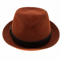 Hermes Burnt Orange Corduroy Leather Trim Detail Panama Hat Size 58 92974