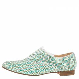 Christian Louboutin Green and White Fred Woven Oxfords Size 38
