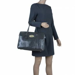Mulberry Dark Grey Patent Leather Bayswater Satchel Bag 42370