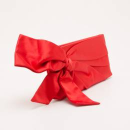 Valentino Red Satin Pleated Bow Clutch 36909