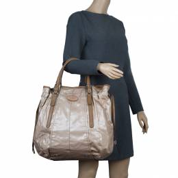 Tod's Metallic Beige Coated Canvas G-Bag Easy Sacca Grande Tote 57550
