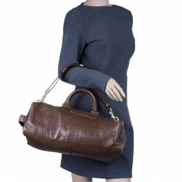 Givenchy Brown Croc Embossed Duffle Bag 12361