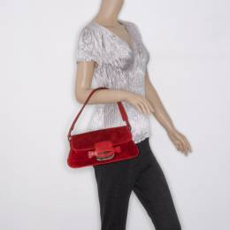 Tod's Red Suede Shoulder Bag 37450