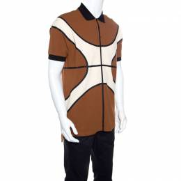Givenchy Colorblock Basketball Pattern Honeycomb Knit Polo T-Shirt S