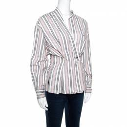 Isabel Marant Pink and White Striped Cotton Jacquard Wrap Front Silvia Shirt M 158794