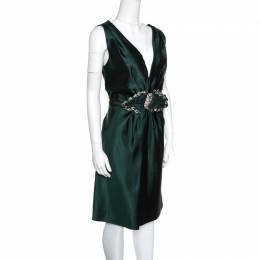 Alberta Ferretti Green Crystal Embellished Waist Detail Sleeveless Dress M 158523