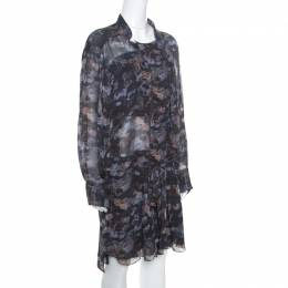 Isabel Marant Grey Printed Silk Belted Carla Dress M 158807