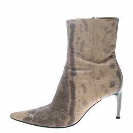Sergio Rossi Two Tone Karung Snake Leather Pointed Toe Ankle Boots Size 38 159917