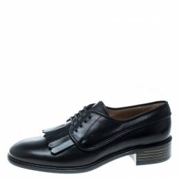 Salvatore Ferragamo	 Black Leather Faber Fringe Detail Derby Size 39.5