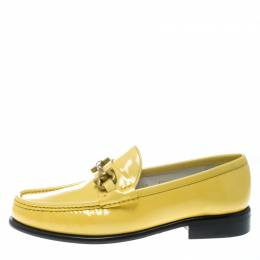 Salvatore Ferragamo	 Women Yellow Patent Leather Mason Gancio Bit Loafers Size 38.5