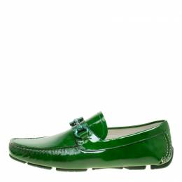 Salvatore Ferragamo	 Green Patent Leather Parigi Gancini Driver Loafers Size 42