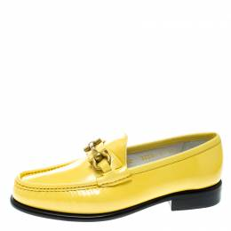 Salvatore Ferragamo	 Women Yellow Patent Leather Mason Gancio Bit Loafers Size 37.5