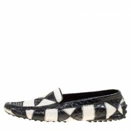 Tod's Black/White Python and Calfhair Limited Edition Patchwork Loafers Size 37 Tod's