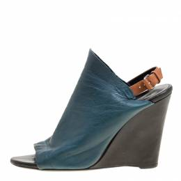 Balenciaga Teal Leather Gloves Wedge Sandals Size 39