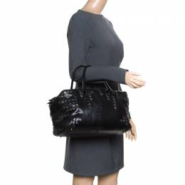 Bottega Veneta Black Python and Leather Intrecciato Detail Brick Bag 164230