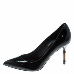 Gucci Black Patent Leather Kristen Bamboo Heel Pointed Toe Pumps Size 39