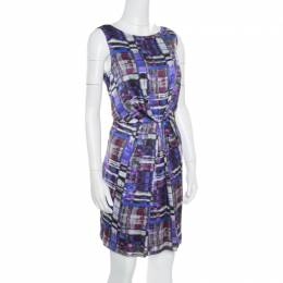 Armani Collezioni Multicolor Printed Silk Pleated Sleeveless Dress M 166559