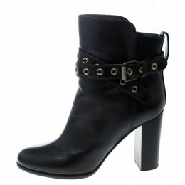 Sergio Rossi Black Leather Eyelet Detail Ankle Boots Size 39 166606