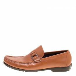 Salvatore Ferragamo	 Brown Leather Gancini Loafers Size 44.5