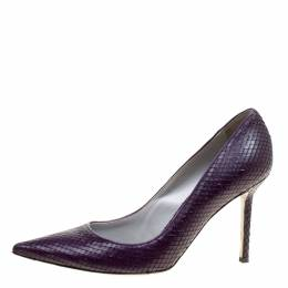 Sergio Rossi Purple Python Embossed Leather Pointed Toe Pumps Size 39