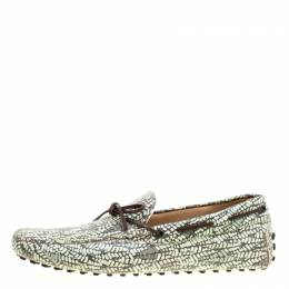 Tod's Green Abstract Print Leather Bow Loafers Size 44 Tod's