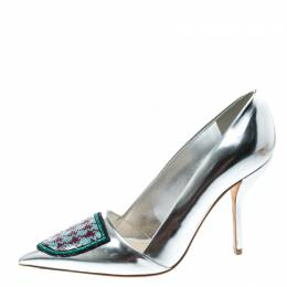 Dior Silver Leather and Sequin Pointed Toe Pumps Size 37 168301