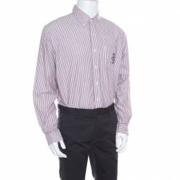 Ralph Lauren Burgundy Striped Crest Embroidered Detail Custom Fit Oxford Shirt XL