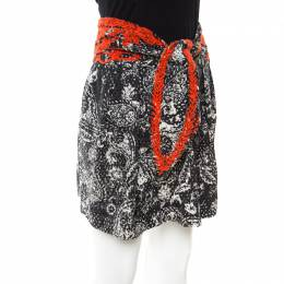 Isabel Marant Black and Red Eyelet Embroidered Cotton Tie Up Detail Pleated Skirt S 174703
