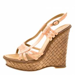 Bottega Veneta Peach Pink Leather Slingback Platform Wedge Sandals Size 36.5 174838