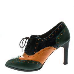Etro Tricolor Leather Brogue Oxford Ankle Booties Size 38