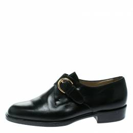 Bally Black Leather Monk Strap Flats Size 37