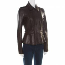 Burberry Prorsum Brown Lamb Leather Fringed Trim Jacket S 176906