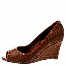 Sergio Rossi Brown Woven Leather Peep Toe Pumps 39