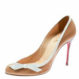Christian Louboutin Beige/White Leather Beauty Pumps Size 38.5